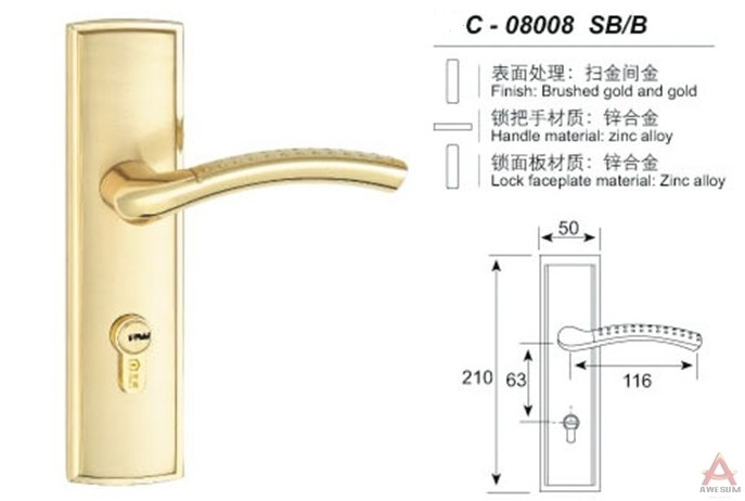 Awesum High Quality Modern Middle-size Lock C08008SBB